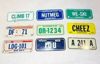 Lot of 9 1980 Wheaties / Post Cereal Mini Bike State Metal License Plates