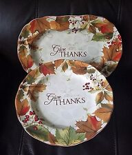 222 Fifth Harvest Festival Oval Serving Platter and Cake Stand New