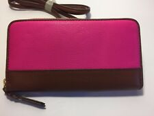 Fossil Women's String Wallet Crossbody Sophia HOT PINK Leather Zip Holds iPhone7