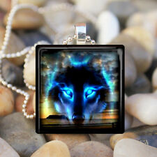 BLUE WOLF SPIRIT Coyote Dog Wolf Sunset Glass Tile Pendant Necklace Jewelry