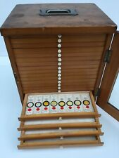 Antique microscope slide collectors cabinet storage box 19 drawers 304 slides