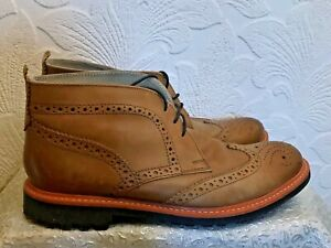 Next The Brogue. Men's Tan Brown Leather Oxford Lace Up Ankle Boots Size 8/42