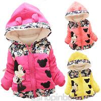 Baby Girls Kids Cartoon Minnie Mouse Hooded Zip Jacket Coats Winter Warm Outwear