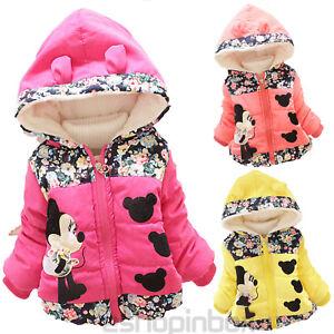 Girls Baby Kids Minnie Coats Jacket Winter Hooded Warm Parka Kids Padded Coats