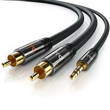 1m HQ 3.5mm Mini Stereo Jack to 2 x RCA Twin Phono Cable Lead GOLD PC TV Aux New