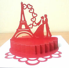 3D PopUp Paris Love Anniversary Greeting Card Handmade Best Gift Husband Wife