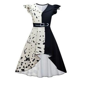 Kids Girls Dress Loyal Dog Black White Witch Cruella Halloween Cosplay Costume