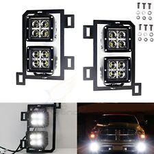 80W Dual LED Pods w/ Foglight Location Bracket Wirings For 13-18 Dodge RAM 1500