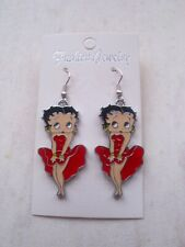 brand new enameled RED dress silver plated betty boop earrings