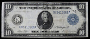1914 US $10 FRN LARGE SIZE CURRENCY FR# 931 WHITE / MELLON
