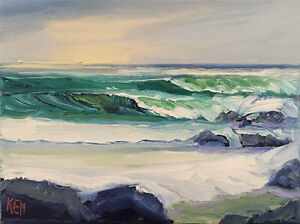 SUN HAZE ONE Original Expression Seascape Ocean Surf Painting 9x12 030519 KEN