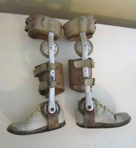 Antique Childs Polio Leg Braces Corrective Leather Shoes Vintage Steampunk
