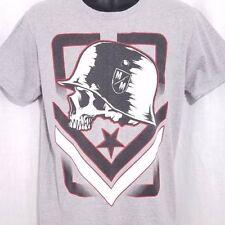 Metal Mulisha Mens T Shirt Helmet Skull Skeleton Military Heather Gray Medium