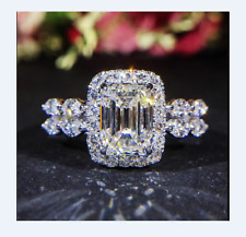 3Ct Emerald Cut VVS1/D Diamond Pretty Halo Engagement Ring 14K White Gold Over