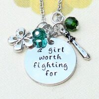 *UK Shop* Silver 'A GIRL WORTH FIGHTING FOR' Mulan Engraved Pendant Necklace