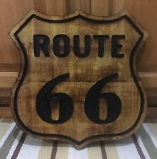 ROUTE 66 WOOD US ROAD HIGHWAY SHIELD BAR WALL HOME DECOR GARAGE MAN GAS OIL