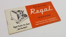 REGAL TELEVISION 1953 TV old BROCHURE Table n Console MODELS catalog SALESMAN