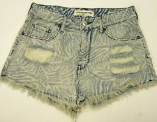 New Pacsun High Rise Bullhead Denim Sz 7 Wild Woman Music Festival Short Shorts