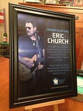 "BIG 10x13 FRAMED ERIC CHURCH ""LIVE IN BROOKLYN 2017"" TOUR LP ALBUM CD PROMO AD"