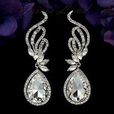Rhodium Plated Clear Crystal Rhinestone Wedding Bridal Drop Dangle Earrings 8776