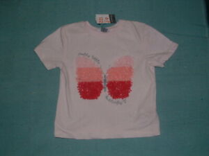 BNWT PRIMARK GIRLS BUTTERFLY  T SHIRT/T0P AGE 6-7 YEARS 122 CMS