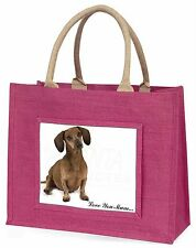Dachshund Dog 'Love You Mum' Large Pink Shopping Bag Christmas Pr, AD-DU36lymBLP