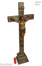 superbe grand christ en bois sculpté d'art populaire 19ème - religion -