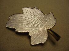 Vintage Elegant Shimmery Iridescent White Guilloche Enamel Leaf Brooch Pin