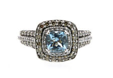 LeVian Apx. 1.00ct Aqua with Apx. 1.00ctw White & Chocolate Diamonds, 14kt
