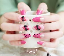 False Nails - Full Cover Long Oval Fake Pink Hearts Bows + Polka Dots 3d Fake
