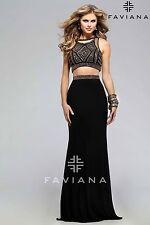 FAVIANA GLAMOUR TWO PIECE EMBELLISHED BLACK BRONZE MESH CORSET DRESS/GOWN sz 6