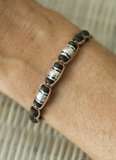 Wood Beads Black Silver 21205 Bracelet Ethnic Brown Mixed Creation Craft