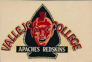 Vallejo Junior College _RARE_ ORIG 40's Decal vtg Apaches Redskins Solano CA