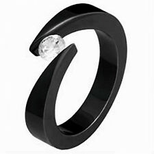 Black Plated TITANIUM BYPASS TENSION RING with Round CZ, size 5 - in Gift Box