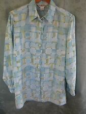 Vintage 80's Beverly Rose Women's Career Shirt Size Large Painterly Plaid Print