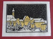 Grafik Christian Huber Farbholzschnitt Maler Altstadt Dachau im Winter Handdruck