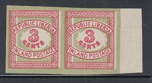 Liberia # 64a Mint Imperf Pair W/ 10 PEARLS 1897 Inland Postage Ex. Mackal