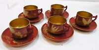 alm114 LOT OF 5 VINTAGE JAPANESE URUSHI MAKI-E LACQUER ON WOOD CUP & SAUCERS