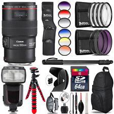 Canon EF 100mm 2.8L IS USM Lens + Pro Flash + Filter Kit - 64GB Accessory Kit