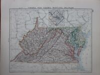 1901 VICTORIAN MAP UNITED STATES VIRGINIA MARYLAND DELAWARE WASHINGTON