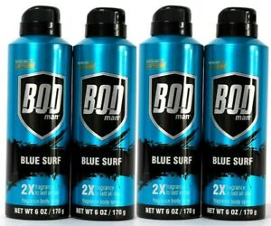 (Pack of 4) Bod Man Blue Surf 2X Fragrance Body Spray Boosted With Caffeine 6 Oz