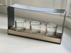 Large Contemporary Metal & Wood Candle Holder With 3 Thick Glass Holders New