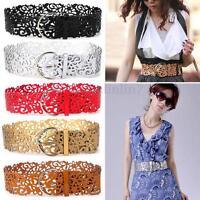 Women Hollow Buckle PU Leather Waist Belts Wide Dress Jeans Waistband Adjustable
