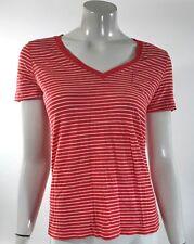 Gap Womens Top Sz XS Orange White Striped V Neck Cotton Fitted Pocket Tee Shirt
