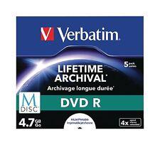 VERBATIM 5 Pack M-Disc DVDR 4.7 GB Inkjet printable