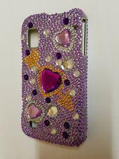 Rare Purple Heart Diamond Dazzle Case Cover For Boost Mobile ZTE Warp N860 Phone