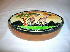Kenya Hand Carved Soapstone Oval Lidded Trinket Box with Giraffes