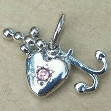 FAITH HOPE & CHARITY Cross Anchor Pink Crystal Heart European Pendant Charm