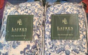 NEW ! RALPH LAUREN Vintage TAMARIND Porcelain MULTI RUFFLED 2 Pillow SHAMS