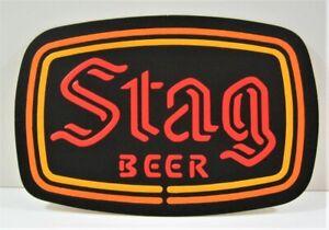 Vintage Stag Beer Adv Store Neon Style Embossed Cardboard Sign Beer Dist Stock
